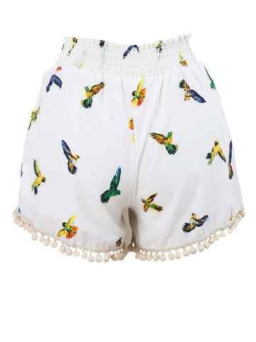 Honey Belle  Coconut Bird Print Shorts - Cimiche