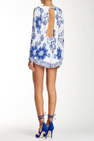 Lovecat - Wander Romper White with Blue Print - Cimiche