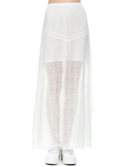 Lovecat - Love Lily Two-Piece Long Skirt Set in White - Cimiche