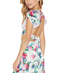 Lovecat - Brunch Two-Piece Long Skirt Set in Pink Floral