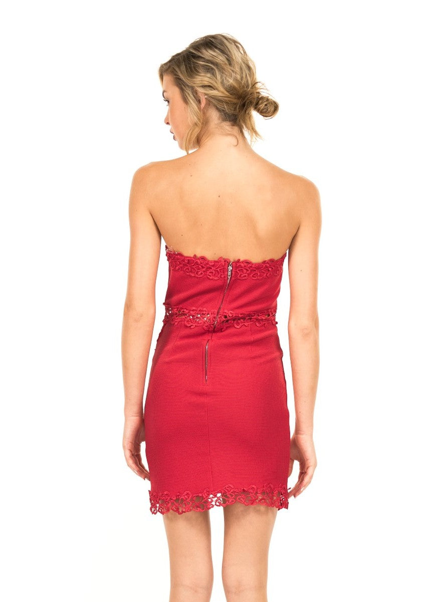 Luxxel - The BaroqueTrimmed Dress in Off Red - Cimiche