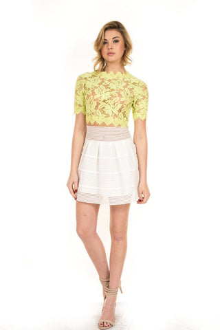 Luxxel - Lime Woven Lace Crop Top - Cimiche