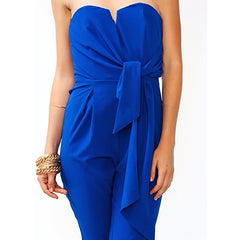 Mustard Seed - Women's Fashionable Strapless Jumpsuit in Royal Blue - Cimiche