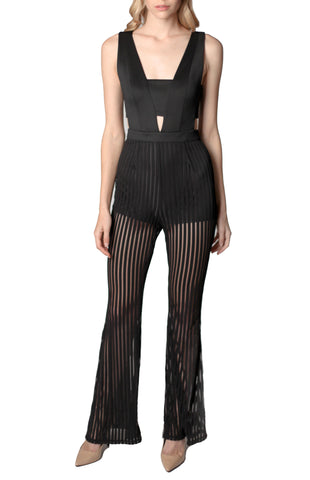 Mustard Seed - Illusion Stripe Jumpsuit in Black - Cimiche