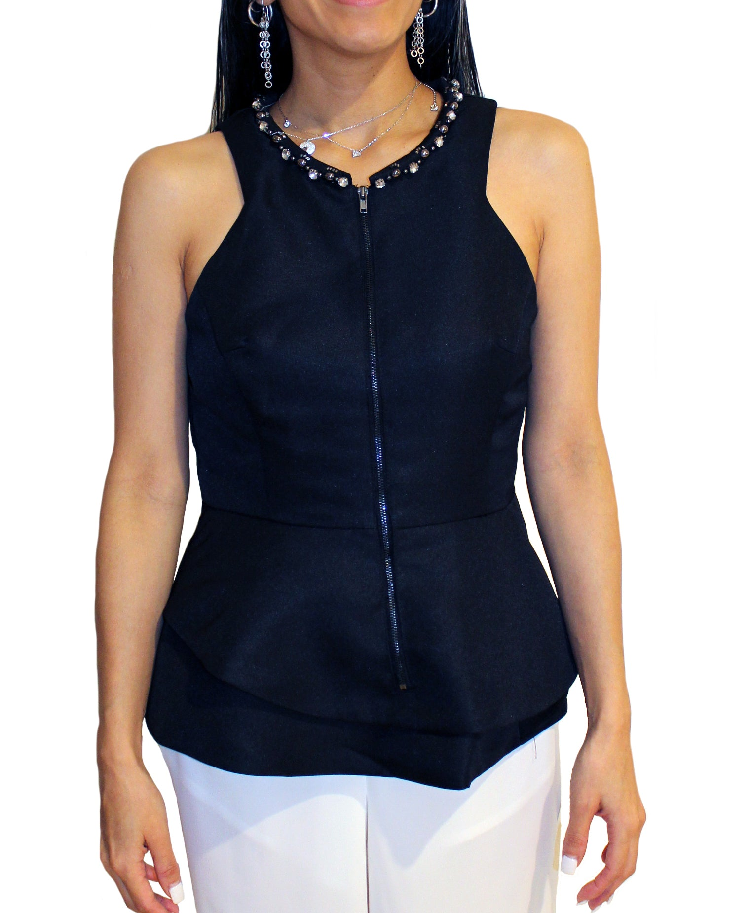 Mustard Seed - Sleeveless Top with Beaded Neck Design in Black