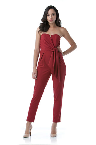 Mustard Seed - Women's Fashionable Strapless Jumpsuit in Burgundy - Cimiche