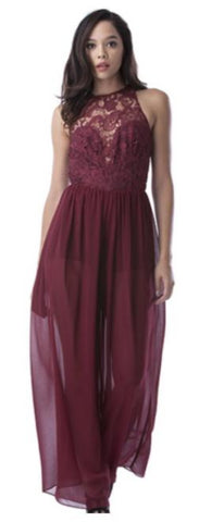 Mustard Seed - Sleeveless Burgundy Romper - Cimiche
