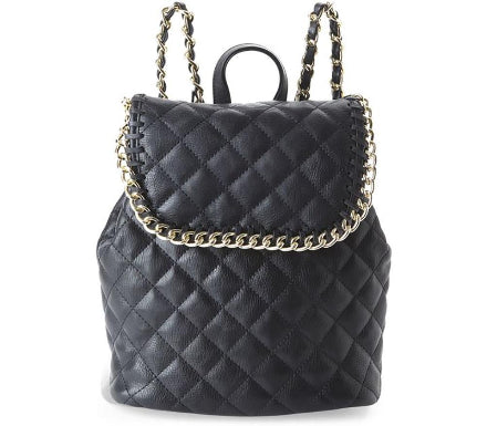Nila Anthony Handbags - Quilted Black Backpack with Gold Chain Straps - Cimiche