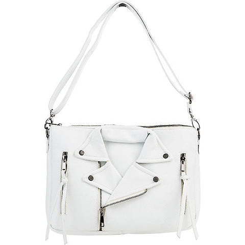 Nila Anthony Handbags - White Moto Jacket Style Crossbody Clutch - Cimiche