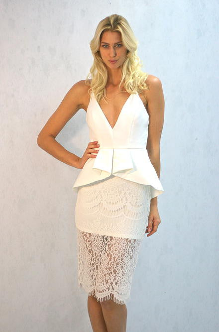 Mustard Seed Peplum and Lace Off White Dress - Cimiche
