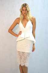 Mustard Seed White Dress with Lace - Cimiche