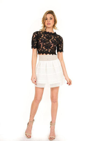 Luxxel - Black Woven Lace Crop Top - Cimiche