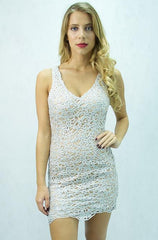 A.Peach - Women's Sequin Mini V-Neck Bodycon Party Dress - Cimiche