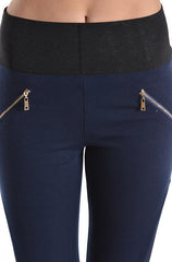 A.Peach - Fancy Classic Navy Leggings with Deco Zippers - Cimiche