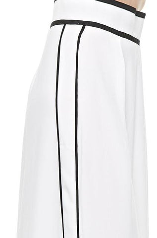 Black Collection - High Waist Pants with Wide Leg in White - Cimiche