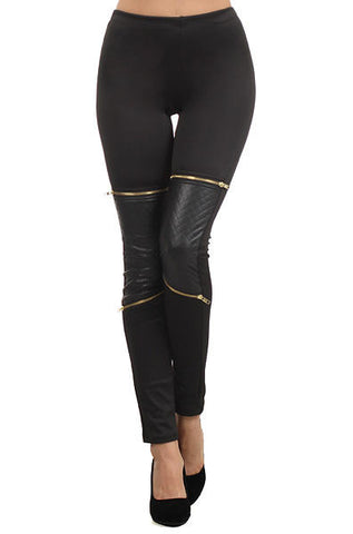 Cemi Ceri - Quilted Contrast Leggings with Deco Zippers - Cimiche