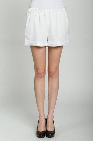 Off White Shorts with Trim