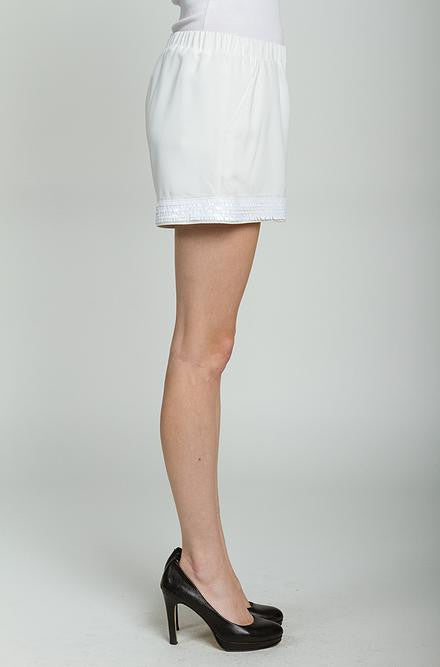C. Luce - Sequin Embellished Dress Shorts in Off White - Cimiche