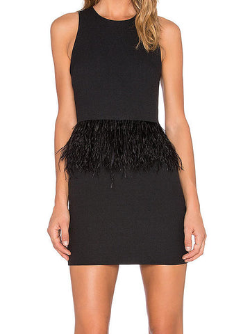 Endless Rose Feathered Little Black Dress - Cimiche