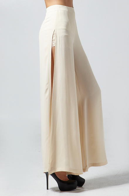 Hommage - High-Waisted Pants in Light Taupe - Cimiche