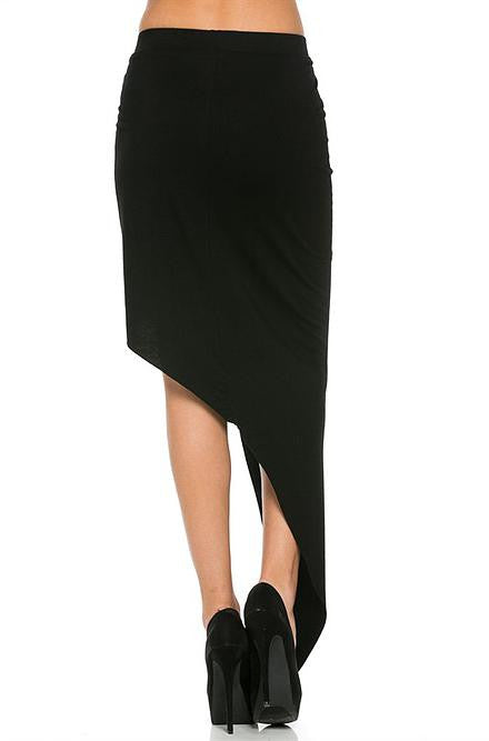 Hommage Twisted High Low Black Skirt