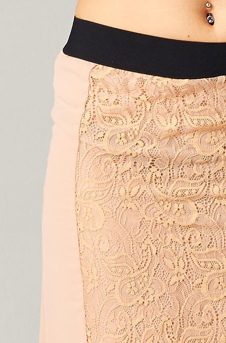 Hommage - Taupe Hi Low Skirt with Lace - Cimiche