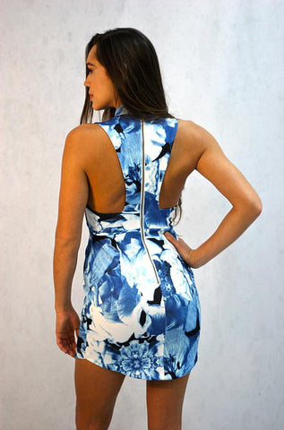 L'atiste Blue Floral Print Mini Dress - Cimiche