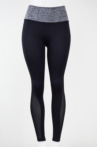 Grey Banded Black Yoga Pants - Cimiche