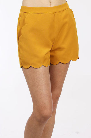 Scalloped Shorts in Mustard by Loveriche - Cimiche