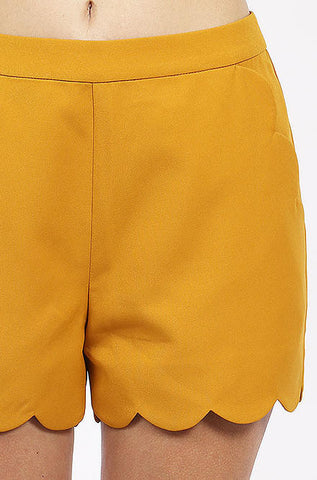 LoveRiche Scalloped Dress Shorts in Mustard - Cimiche