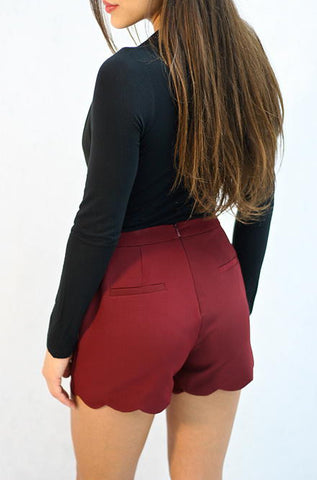 Scalloped Shorts in Wine by Loveriche - Cimiche