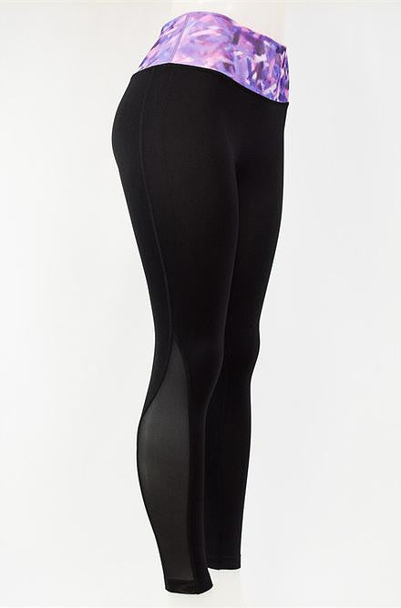 Leto - Purple Banded Black Yoga Pants - Cimiche