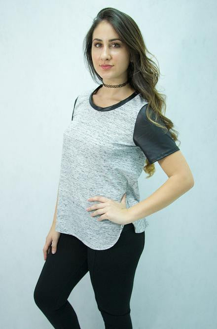 Promesa USA - Grey Shirt with Faux Black Leather Sleeves - Cimiche