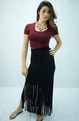 Promesa USA - Long Black Skirt with Fringe Detail at Bottom - Cimiche
