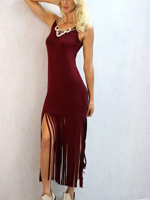 On the Fringe Dress- Burgundy
