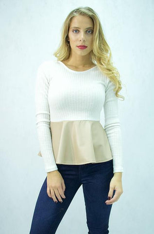 Double Zero - Cream Peplum Top - Cimiche