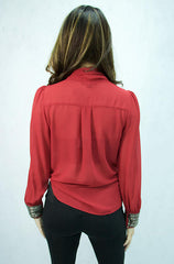 Double Zero  Deep Red Long SleeveTop - Cimiche