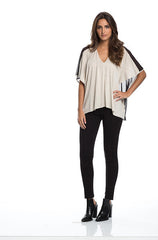 Elan Black Mesh V-Neck Top - Cimiche