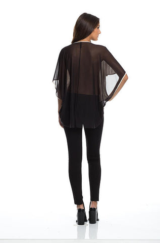Elan - Black Mesh V-Neck Top - Cimiche