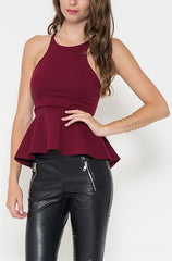 Burgundy Peplum Top - Cimiche