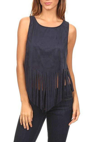 Blue Blush - Sleeveless Suede Top with Fringe in Gucci Blue - Cimiche