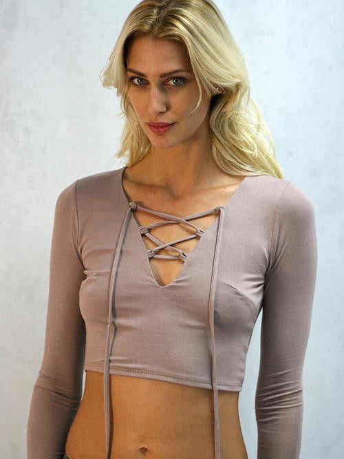 Blue Blush - Long Sleeve Mocha Crop Top - Cimiche