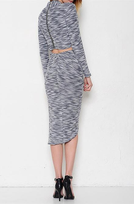 L'atiste Long Sleeve Sweater Top with Mid Length Skirt Set