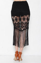 L'atiste - Crochet Lace Skirt with Fringe - Cimiche