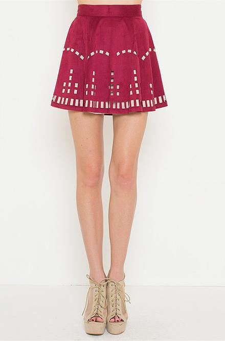 L'atiste Burgundy with Cut Outs Skirt - Cimiche
