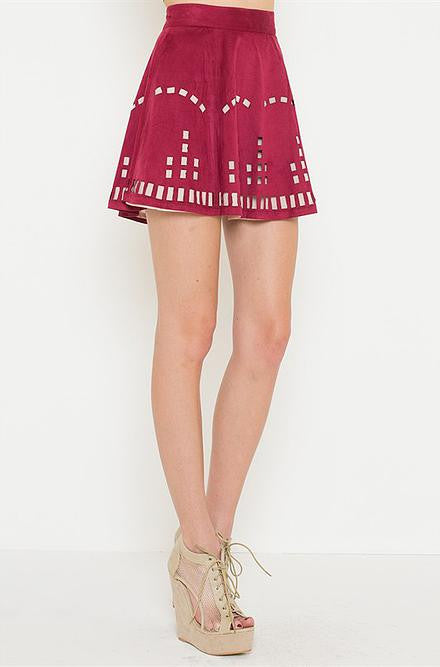 L'atiste - Burgundy Skirt with Cut Out Detailing - Cimiche