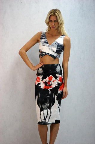 Black and Flower Print Skirt by L'atiste - Cimiche
