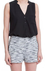 Lush - Two Tone Woven Black and White Shorts - Cimiche