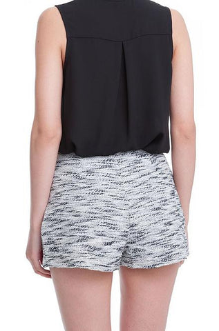 Multiprint Black and White Shorts