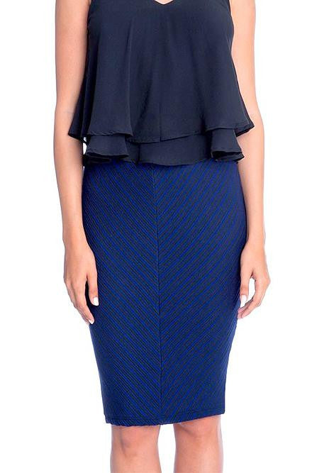 Lush - Royal Blue and Black Knit Striped Pencil Skirt - Cimiche